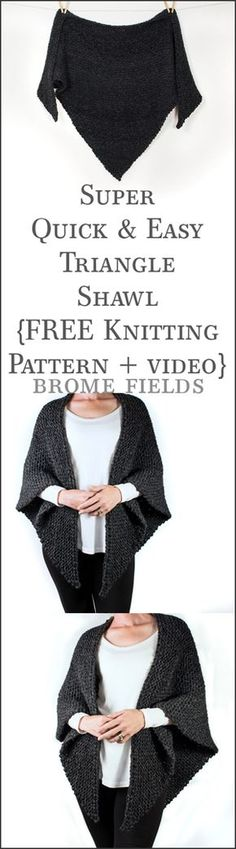 Super quick & easy knitting pattern +row by row video tut… FREE knitting pattern! Super quick & easy knitting pattern +row by row video tutorial. Baby Knitting Patterns, Shawl Patterns, Knitting Patterns Free, Free Pattern, Pattern Sewing, Pattern Ideas, Knitting Ideas, Easy Knitting, Knitting Yarn