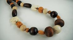 Brown Bead Necklace Bone Bead Necklace Chunky Necklace by mscenna, $15.00