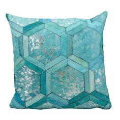 Michael Amini Metallic Hexagon Turquoise/Silver Throw Pillow (20-inch x 20-inch) by Nourison