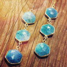 """Triple #hex #turquoise #gold #sweetbellajewelry #earcandy #etsy #boho #freepeople #gypsyone #gypsylovinglight #handmade #handmade"""