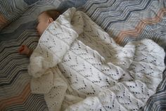Hand Knit Baby Blanket White Baby Blanket Knit by BambinoStore
