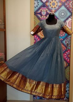 Checks Chanderi Silk Anarkali with pure silk pattu border by Shaanvi Designer Studio. Price: Rs 7500 www.yarnstyles.com