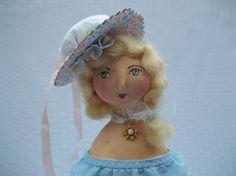 Paper Clay and Cloth Folk Art Doll Adelle by GentleTimeDolls