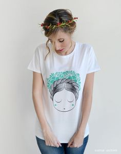 Woman Tshirt With flowers in the hair Turquoise by esenciacustome, €15.96