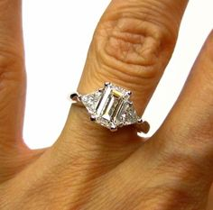 Stunning..2.01ct Estate Vintage Emerald Cut Diamond GIA G VS1 Engagement Wedding Anniversary Ring with 2 Trillions in Platinum