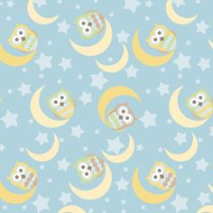 Blizzard Fleece Fabric-Owls And Moon And Stars
