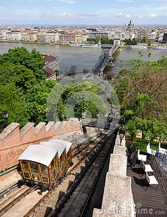 Old funicular train moving on the sloped track near Buda Castle, in Budapest, the hungarian capital city. The cart offers a panoramic view over the historical urban landscape. Buda Castle, Urban Landscape, Capital City, Budapest, Travel Destinations, Cart, Track, Europe, Stock Photos