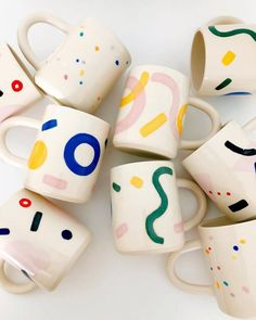 They are all my favs. More large hand-painted mugs. Great for ☕️ ! They are all my favs. More large hand-painted mugs. Great for ☕️ ! Pottery Painting Designs, Pottery Designs, Paint Designs, Mug Designs, Ceramic Cups, Ceramic Pottery, Carrie, Cerámica Ideas, Decor Ideas