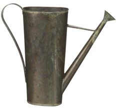 """Set 4 13.75"""" Brown Finish Metal Tall Thin Oval Watering Can"""