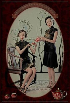 Chinese tea ad. The women look beautiful and are enjoying their time together sipping a fresh cup of tea.