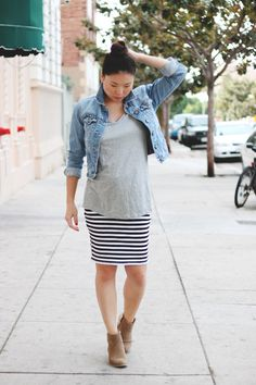 denim jacket + loose t-shirt + jersey skirt - ankle boots lol, nude ballet flats instead (+ I have that skirt)