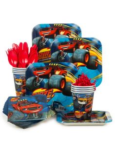 Blaze and the Monster Machines Standard Tableware Kit Serves 8| BirthdayInaBox.com