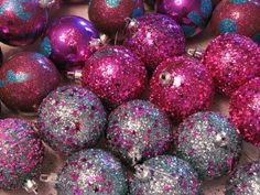 silver, red violet ornaments