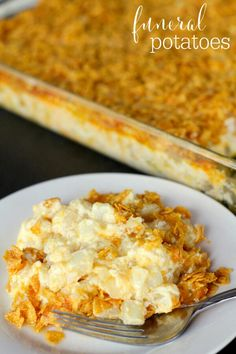 ~Funeral Potatoes~ **Ingredients** 2 packages Frozen Hash Brown Potatoes 12 oz. (Southern Style)● 2 cups sour cream● 1 can cream of chicken soup● 1/2 cup butter melted● 1 tsp. salt● 1 tsp. minced onion or onion powder (optional)● 2 cups shredded cheddar cheese● 2 cups Corn Flakes, crushed & mixed with 1/2 cup melted butter. **Instructions** Place your potatoes in a colander. Let set until thawed and drained. Combine sour cream, soup and butter in a bowl. Mix it well. Add salt, onion and…