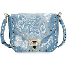 Valentino Rockstud Small Butterfly Washed Denim Crossbody Bag ($2,145) ❤ liked on Polyvore featuring bags, handbags, shoulder bags, handbags crossbody bags, light denim, blue crossbody handbag, blue cross body purse, denim shoulder bag, crossbody shoulder bags and cross body