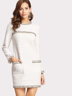 Shop Whipstitch Trim Tweed Dress online. SheIn offers Whipstitch Trim Tweed Dress & more to fit your fashionable needs.
