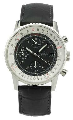 WatchMann.com Military Watches and Pilot Watches: Hacher Aviateur Automatic Chronograph Flight Computer Watch