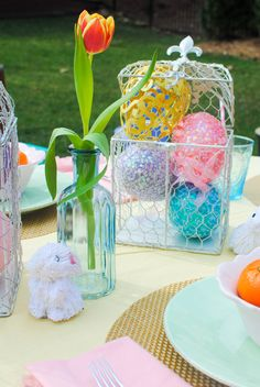 DIY Easter tablescape. Colorful Easter egg centerpiece and ideas for a spring table.