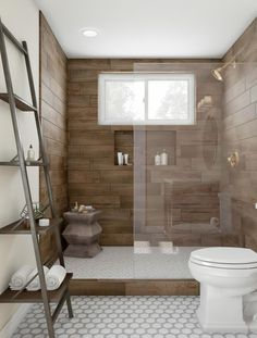 Revel in the luxury of a walk-in shower. This one features rich espresso wall tile with an inset shelf. Install a clerestory window to let light in and steam out while maintaining privacy. Choose burnished gold hardware, honeycomb tile and ladder shelving for a home-spa feel.