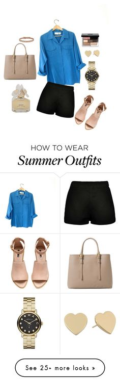 """Summer outfit style"" by kerri-lambkins on Polyvore featuring H&M, Boohoo, MANGO, Marc by Marc Jacobs, Kate Spade, FOSSIL and Bobbi Brown Cosmetics"