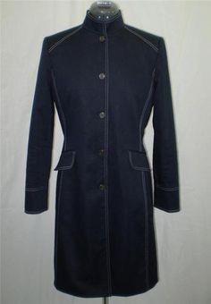 Daniele O Tahari Levine Coat Lightweight Spring Fall Snap Front Mandarin 6
