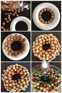 DIY: nut wreath (deco) - New Deko Sites Fall Crafts For Kids, Diy And Crafts, Diy Wreath, Wreaths, Christmas Diy, Christmas Decorations, Fall Diy, Diy For Teens, Diy Art