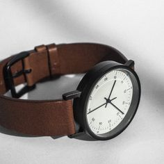 Usual Collective Time Teller 36 Black case - Brown Leather strap