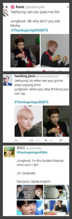 #thanksgivingwithbts pt 2 ok so the last one with jungkook and the whole graduate thing is a little mean but the english part is funny