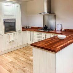 Walnut worktop different wood floor #woodflooringreclaimed