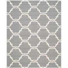 Clara Gray & Silver Geometric Wool Hand-Tufted Area Rug