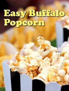This Easy Buffalo Popcorn recipe gives you a blast of flavor. It's super yummy, and great for setting out on a gameday or a movie night.