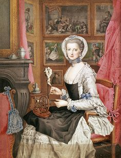 1765_Self-Portrait of Archduchess Maria Christina  A lovely noblewoman doing elegant busywork with her miniature spinning wheel.