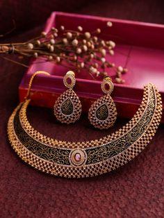 DHRUVI by Zaveri Pearls Black & Gold-Toned Cubic Zirconia Jewellery Set