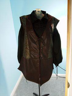 Brown Jerkin / Vest Size 2XL by PavaneCostuming on Etsy, $50.00