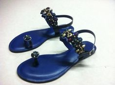 Cute ocean blue beaded sandals