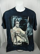 The Mountain Blue Dyed Knights Templar Medieval T-Shirt Large