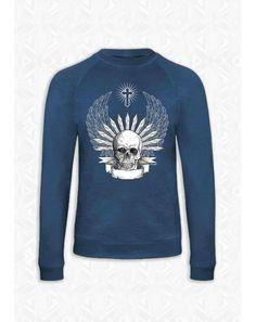 SWEAT SKULL AILES Les Indiens d'Amérique considère le crâne qu'un talisman contre la mort. Mais le crâne peut aussi devenir un symbole positif rappelant de fêter la vie autant que la mort. https://www.gnoufi.com/tribu/129-sweat-bleu-homme-skull-ailes.html