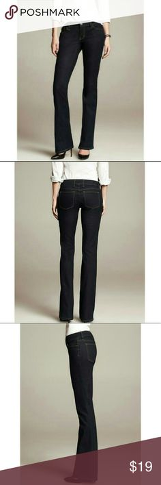 Banana Republic Curvy boot dark indigo Jeans Banana Republic Curvy boot indigo jeans. For curvier figures. Worn 2-3 times. Bottoms do not show damage. Please ask if wish more pictures. Dimensions in pics. Banana Republic Jeans Boot Cut
