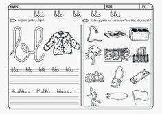 Maestra de Primaria: Fichas de lectoescritura. Grupos consonánticos: bl, br, cl, cr, dr, fl, fr, gl, gr, pl, pr, tr.