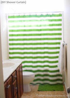 Striped Shower Curtain with tutorial to make your own! http://www.craftaholicsanonymous.net/2012/02/striped-shower-curtain-tutorial.html