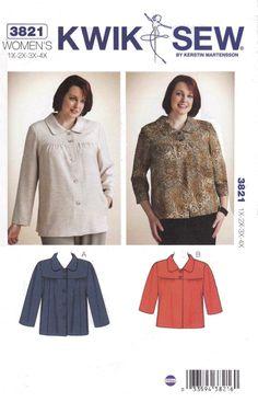 ff793a27a6f51 Kwik Sew Sewing Pattern 3821 K3821 Women s Plus Sizes 1X-4X Button Front  Jacket Sleeve