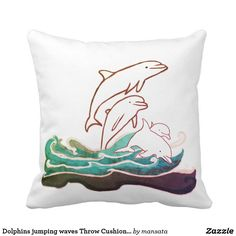 Dolphins jumping waves Throw Cushion 41 x 41 cm