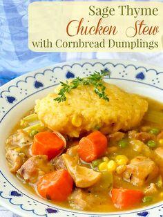 Sage Thyme Chicken Stew with cornbread dumplings