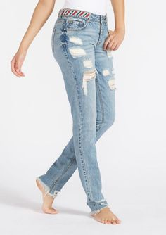 1ae809fd9fd Addison Beaded Waist Girlfriend Jeans for Tall Women. Distressed slim fit  jeans at Alloy Apparel.
