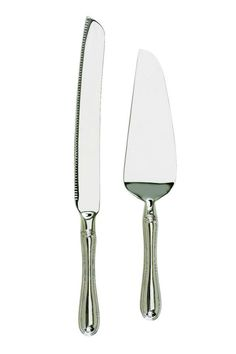"""This 2 piece set includes a beautiful cake knife and server. The perfect wedding shower gift, they are easily personalized to keep as a memory of that special day or maybe use again on anniversaries. Finished in a non-tarnishing, brightly polished nickel-plate. Cake server is 10.25"""" in length; Knife is 12"""" in length Wedding Cake Set by Creative Gifts International . Home & Gifts - Gifts - Gifts by Occasion - Wedding & Engagement Utah"""