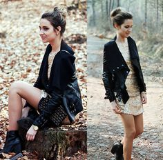 River Island Leather Jacket, Gold Sequin Dress