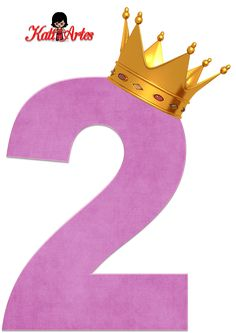 Alfabetos de números violeta claro con coronas. Número dos, 2.