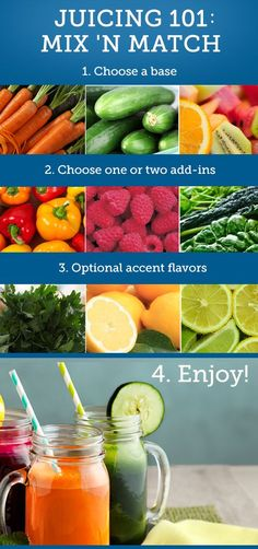 Juicing 101........ Squeeze more out of the trend with tips, tricks and recipes for fresh fruit and veggie juices. Learn four tips here 1)Choosing a juicer 2) Stocking up 3) Start slowly 4) Mix and match ......kur <3