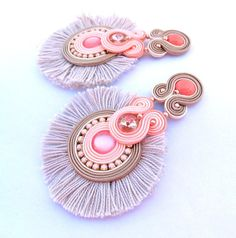 Coral Tassel Clip On earrings, Long Statement Soutache Earrings, Peach and Beige Earrings with Crystals and Tassels These coral earrings Ive made for women who appreciate uniqueness and style.These earrings are very eyecatching and subtle both ; color combination of coral & nude