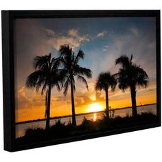 ArtWall Steve Ainsworth Tropical Sunset Gallery-Wrapped Floater-Framed Canvas, Size: 24 x 36, Orange